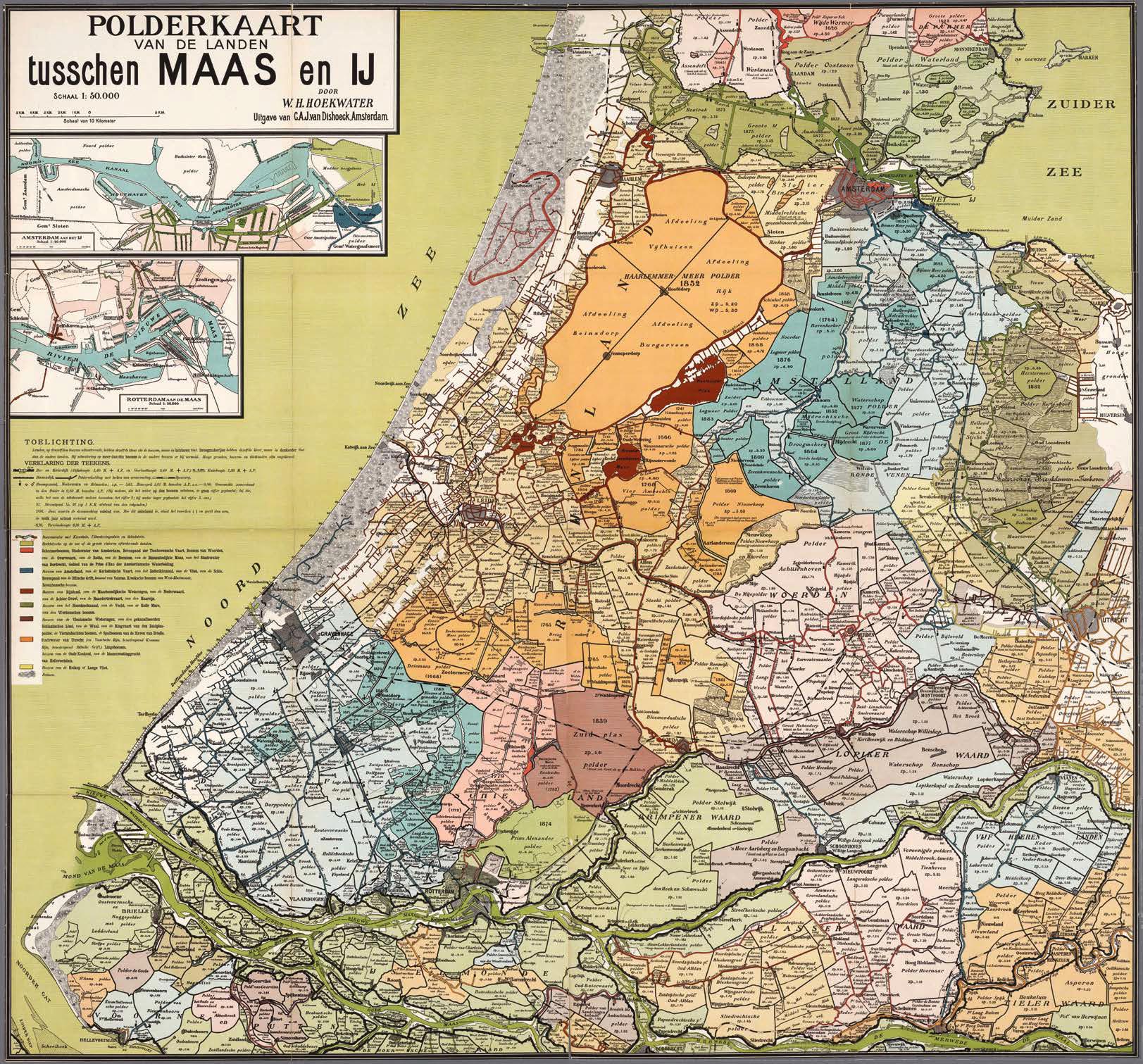 Polderkaart van de landen tusschen Maas en IJ door W.H. Hoekwater uit 1901