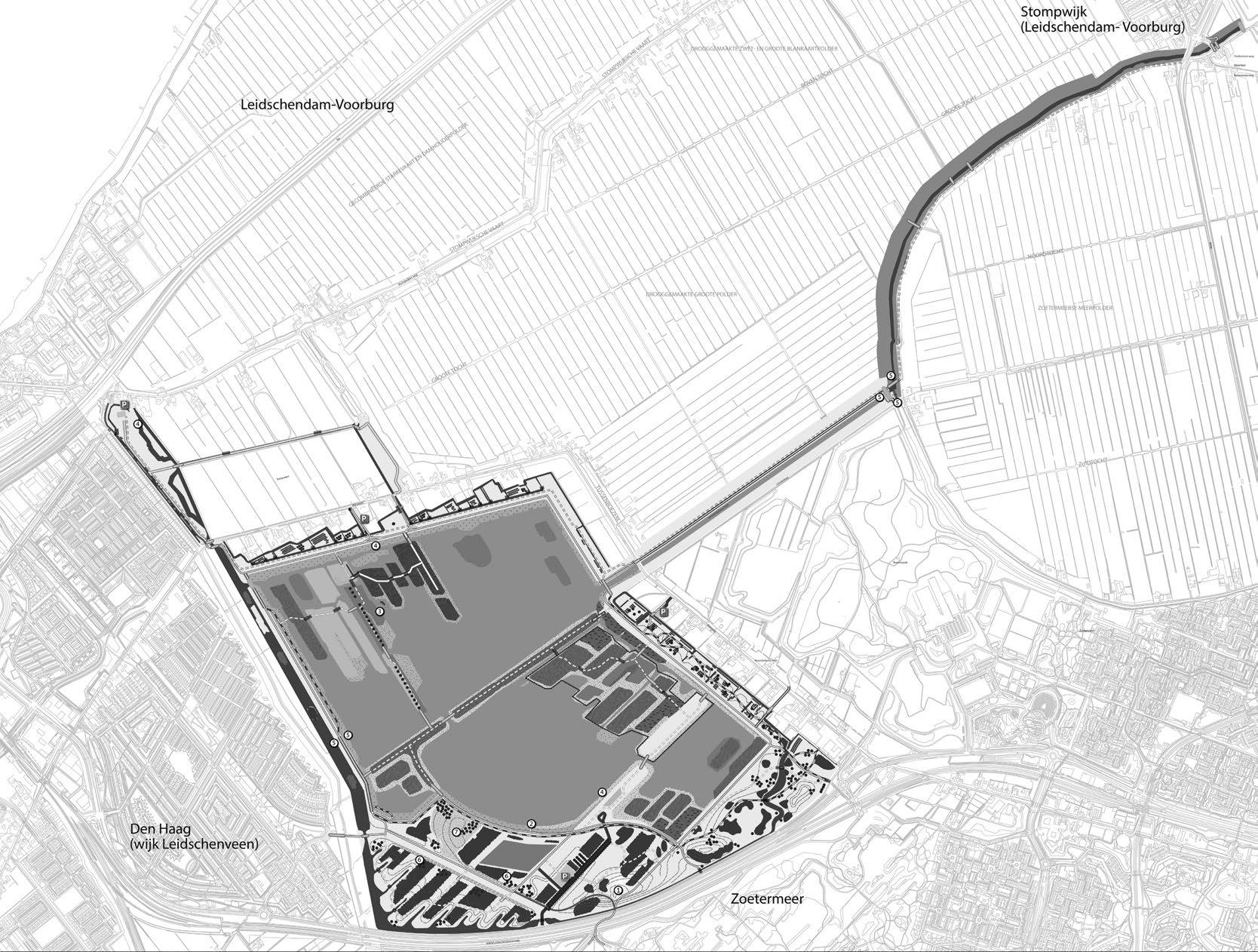 Inrichtingstekening Driemanspolder, oktober 2015 (Hoogheemraadschap van Rijnland / Projectorganisatie N3MP)